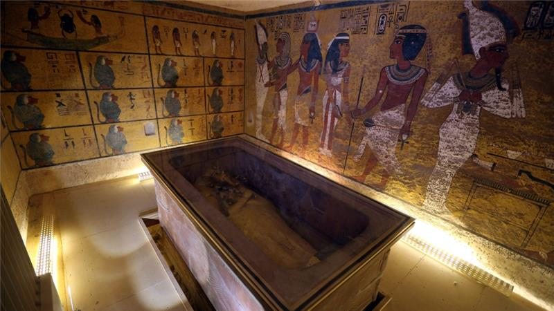 An interior view of the King Tutankhamun burial chamber in the Valley of the Kings.