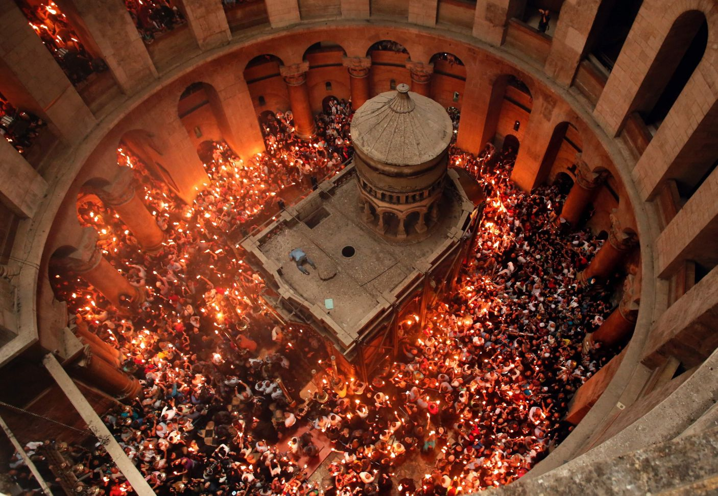 Holy Fire ceremony is held in the rotunda of the Church around the Tomb of Christ.