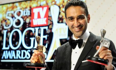 Waleed Aly holds his  gold and silver Logies after the 2016 Logie Awards in Melbourne (AAP: Joe Castro)