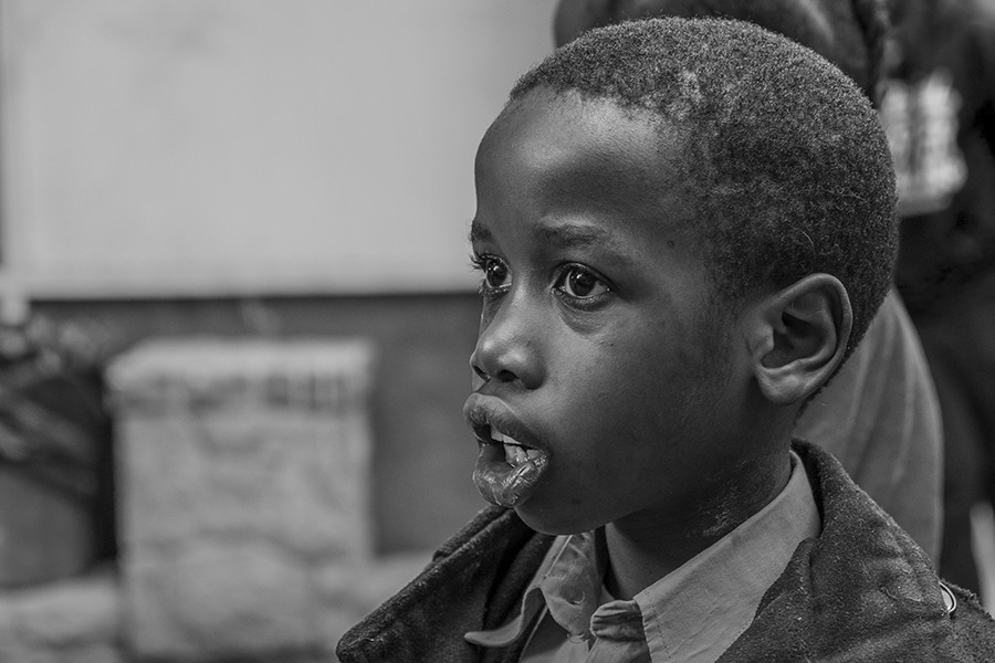 A young student during the morning line