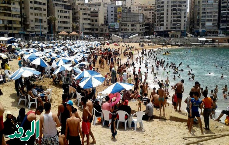Scores of Egyptians attempting to escape the bustle of Cairo by cooling off on Alexandria's shores. Photo: Al-Wafd