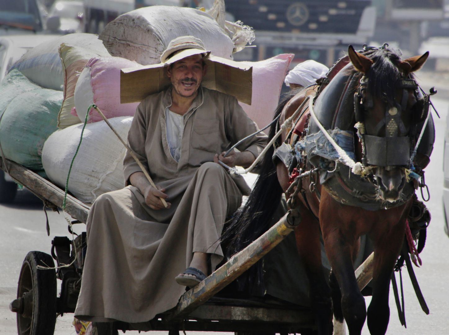 An Egyptian farmer rides his horse cart as he uses a makeshift hat with cardboard to protect his head from direct sunlight on a Cairo street in Egypt on Tuesday, Aug. 11, 2015. (AP Photo/Amr Nabil)