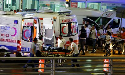 Paramedics push a stretcher at Turkey's largest airport, Istanbul Ataturk, Turkey, following a blast June 28, 2016. (Osman Orsal / Reuters)