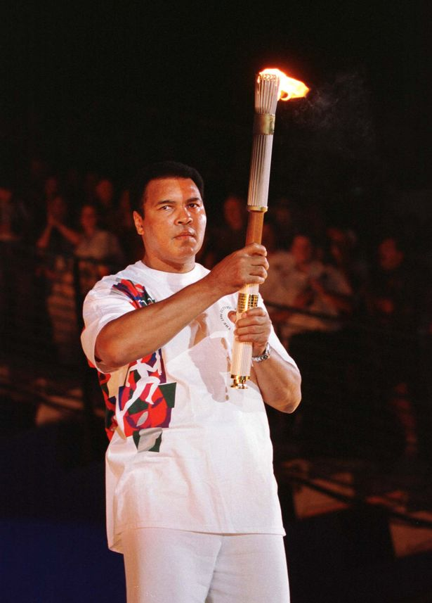 Muhammad Ali lighting the torch at the 1996 Atlanta Olympic Games