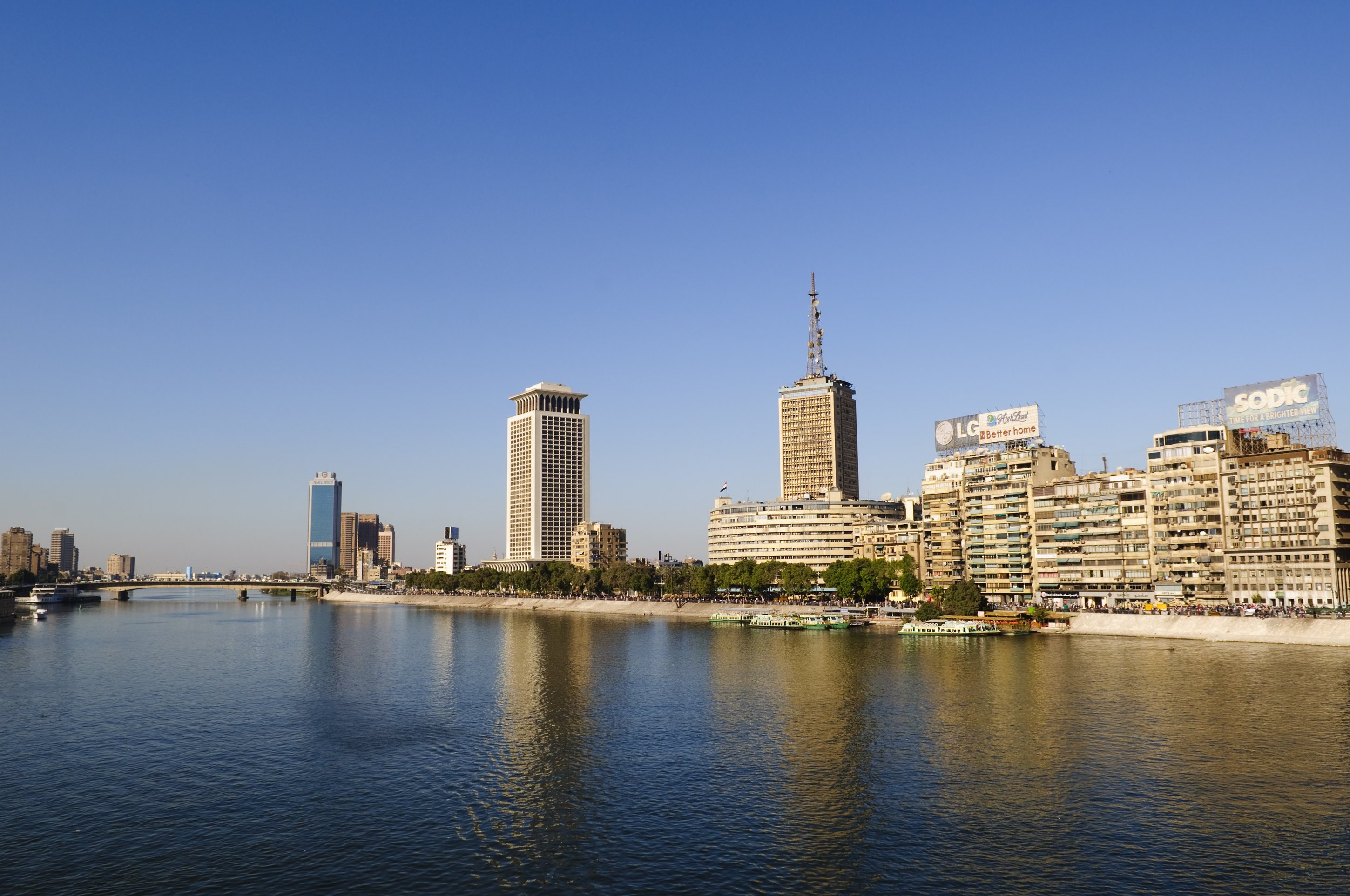 Buildings and Nile River in Cairo, Egypt
