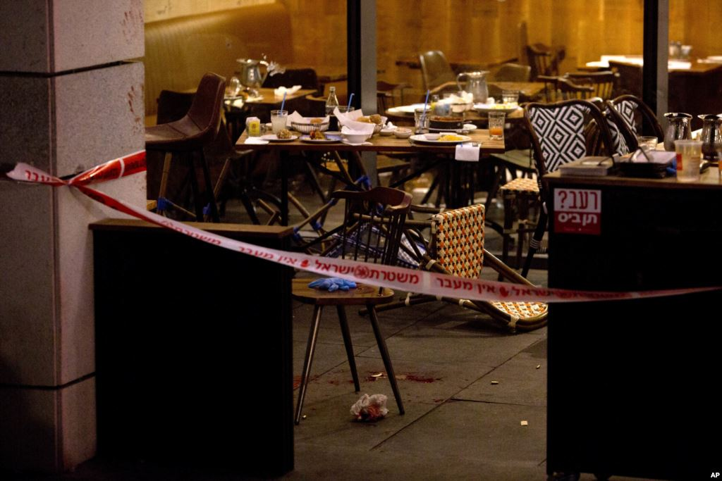 Scene of the attack in Tel Aviv (Credit: AP)