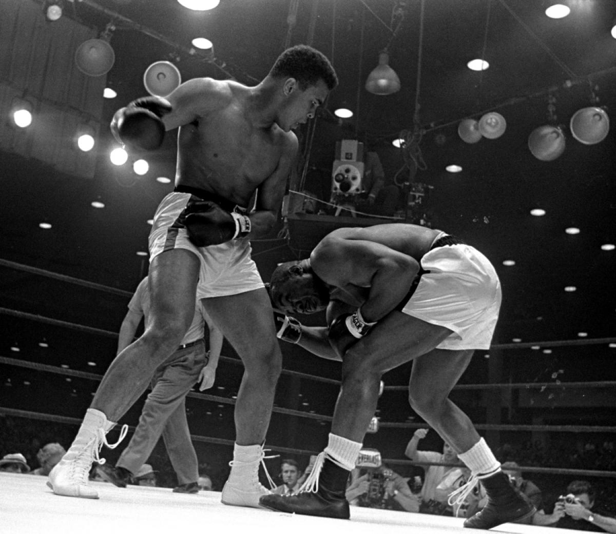 Cassius Clay after landing a combination on Sonny Liston