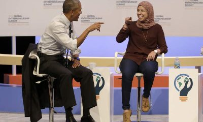 President Barack Obama speaks with Mai Medhat at the Global Entrepreneurship Summit in Stanford, Calif., Friday, June 24, 2016 (AP/Jeff Chiu)