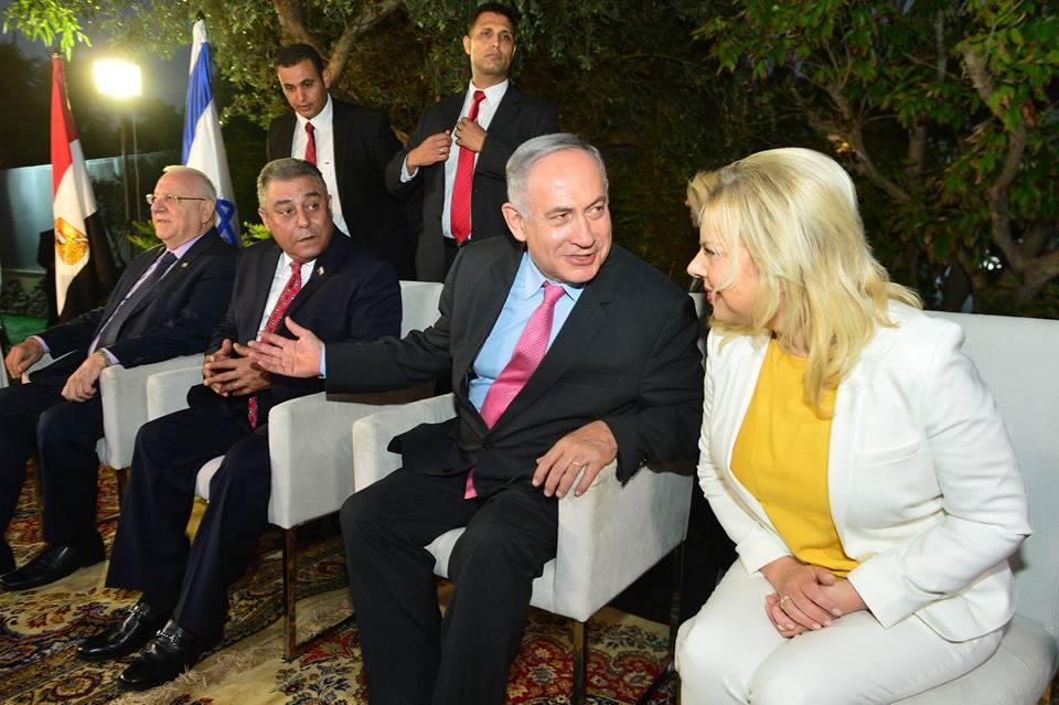 From left: Israel`s President Rivlin, Egyptian Ambassador Khairat, Israeli Prime Minister Netanyahu and Sara Netanyahu.