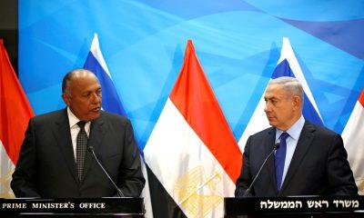 Israeli Prime Minister Benjamin Netanyahu (R) meets Egypt's Foreign Minister Sameh Shoukry in Jerusalem July 10, 2016 REUTERS/Ronen Zvulun
