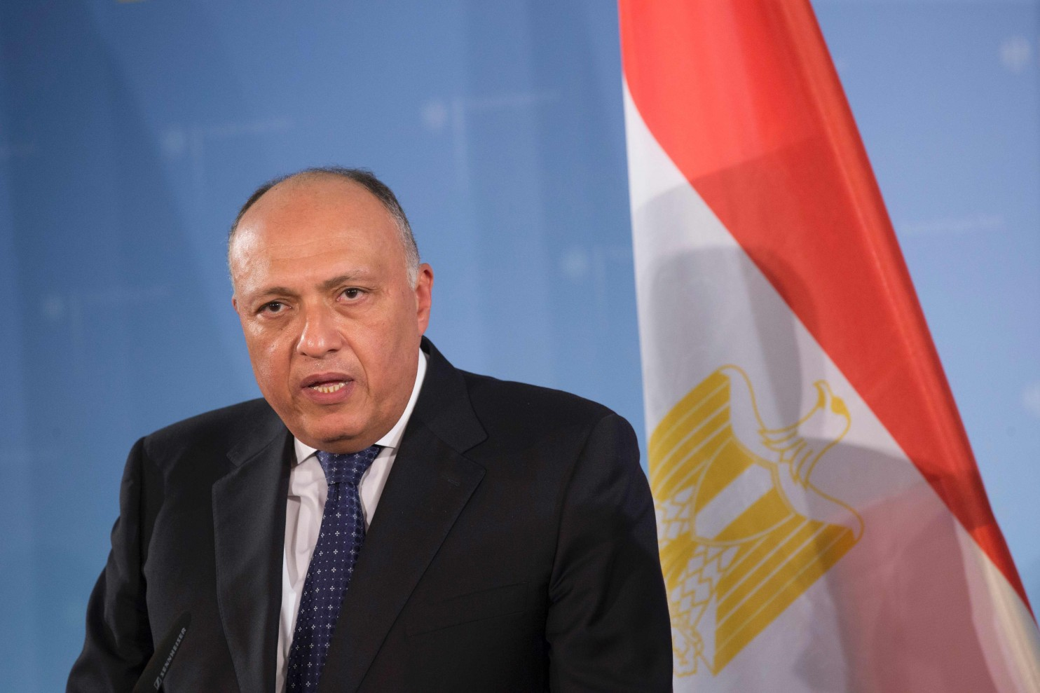 Sameh Shoukry at a press conference in Berlin in January 2016 (Axel Schmidt/AFP/Getty Images)