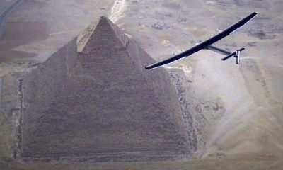 Solar Impulse 2 flew over the Giza Pyramids before reaching Cairo (AFP Photo/Jean Revillard)