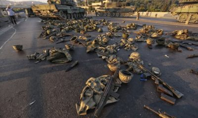 Military clothes and weapons abandoned on the Bosphorus bridge after soldiers surrendered (Getty Images)