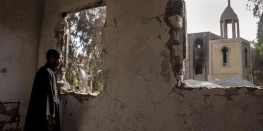 A sabotaged church in Dalja, Minya governorate, 2013 (Photo: Lovers of Bishop Raphael Facebook page)