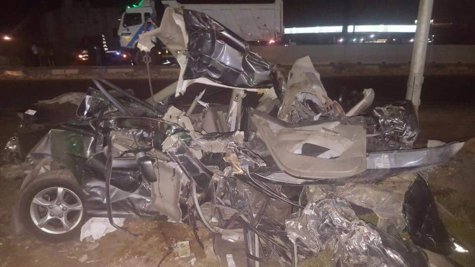 The car unrecognisable after the crash that took the life of young Dania Abdel Rahman - Rabab Elmeligy's Facebook page