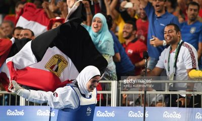 Hedaya Malak celebrates after winning the bronze medal.