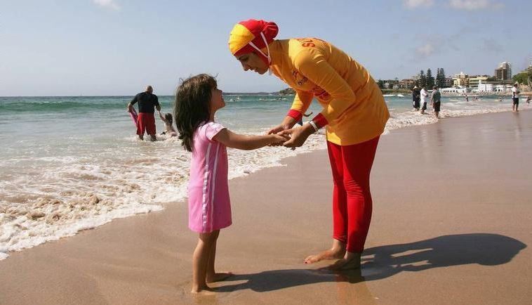 A lifeguard in Australia wearing a 'burkini'
