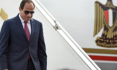 Egyptian President, Abdel Fattah El-Sisi arrives at Air Force station in New Delhi on September 1, 2016 AFP / PRAKASH SINGH
