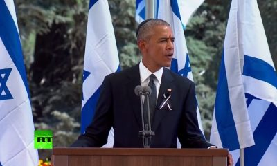 Obama speaking at the funeral of Shimon Peres, former Israeli President (Credit: RT)