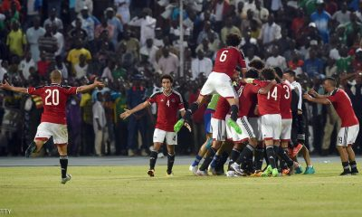 Egypt's players celebrate a goal during the African Cup of Nations qualification match between Egypt and Nigeria in Kaduna, on March 25, 2016 (AFP)