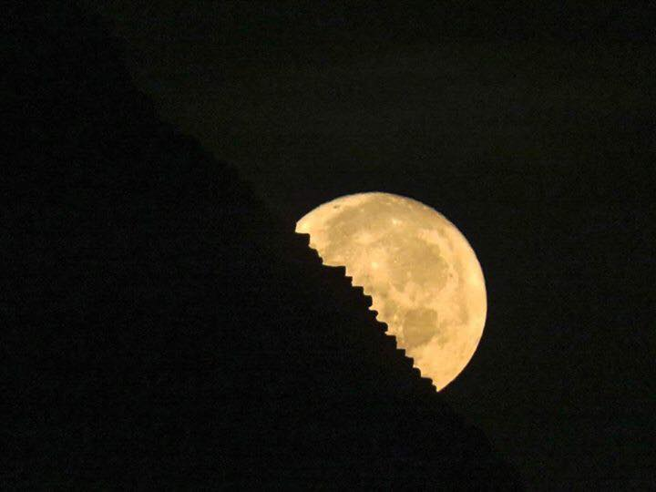 The supermoon behind the Great Pyramid of Giza. Photo: Georgina Cole