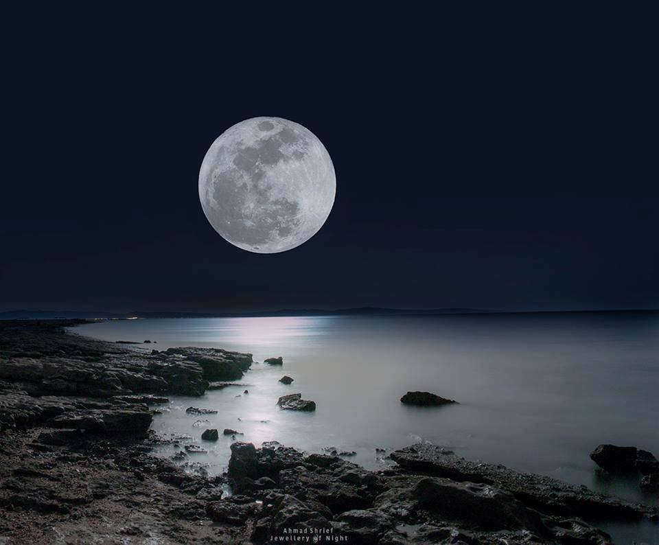 The supermoon as seen from Dahab, Egypt. Photo: Ahmad Shrief