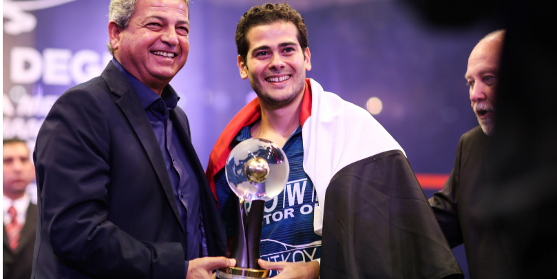 World Championship winner Karim Abdel Gawad. Photo courtesy of Professional Squash Association (PSA)