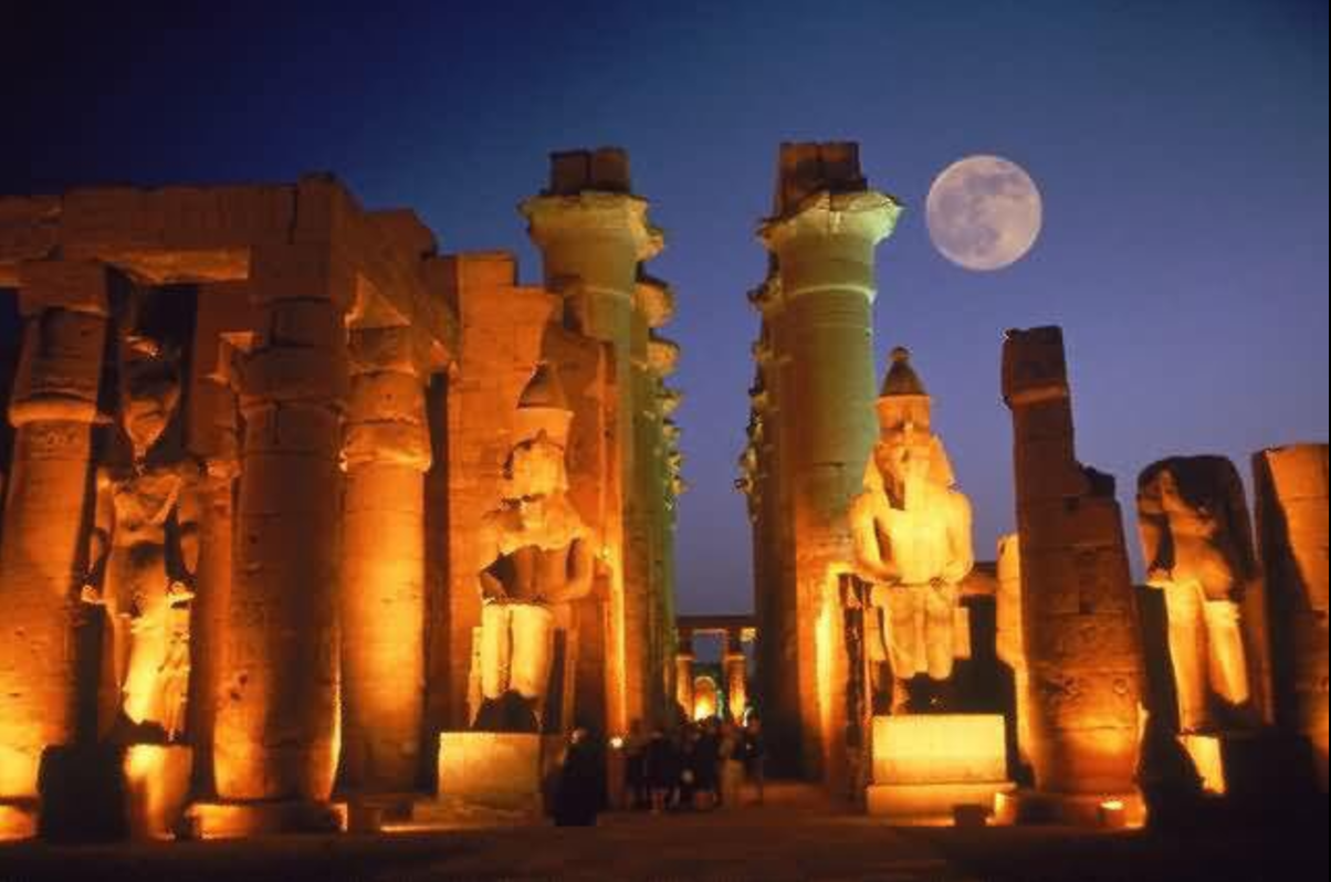 Supermoon above the Luxor Temple. Photo credit unknown