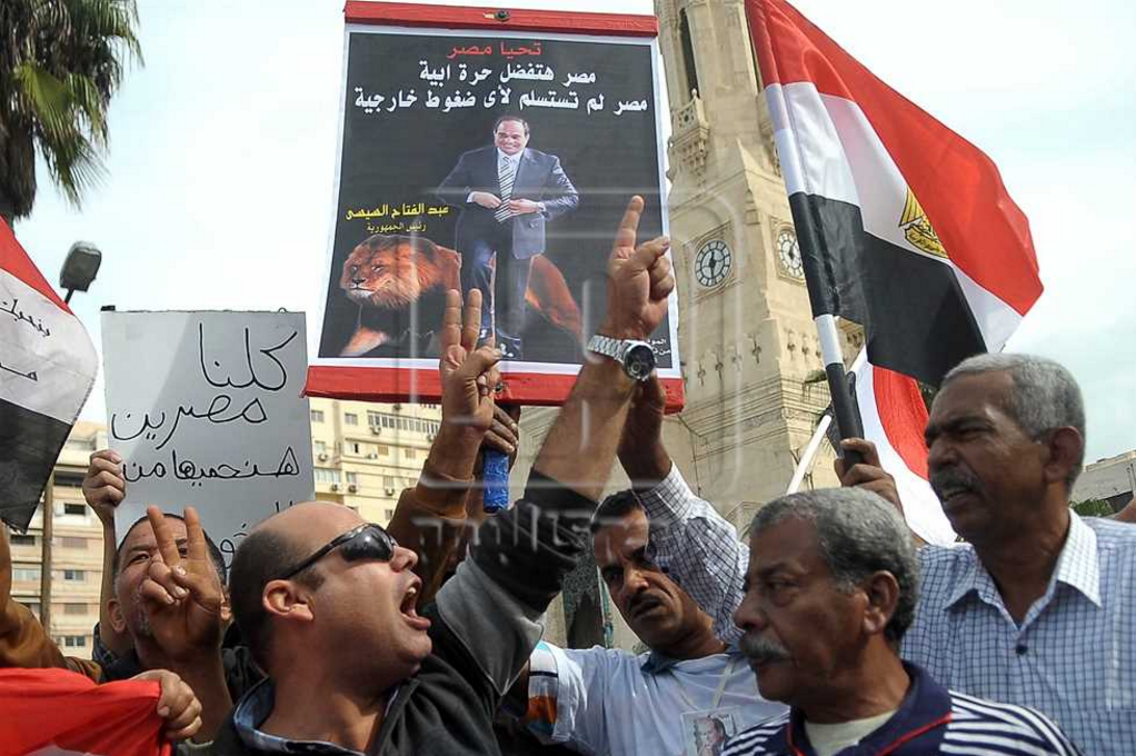 A counter-protest held by government supporters in Alexandria on 11 November 2016 (Credit: Al-Masry Al-Youm)