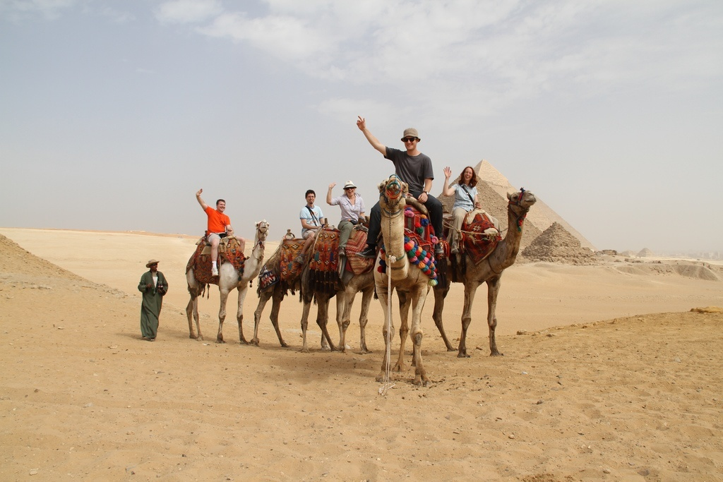 Stock photo of tourists at the Pyramids shared by the Israeli Embassy in Egypt