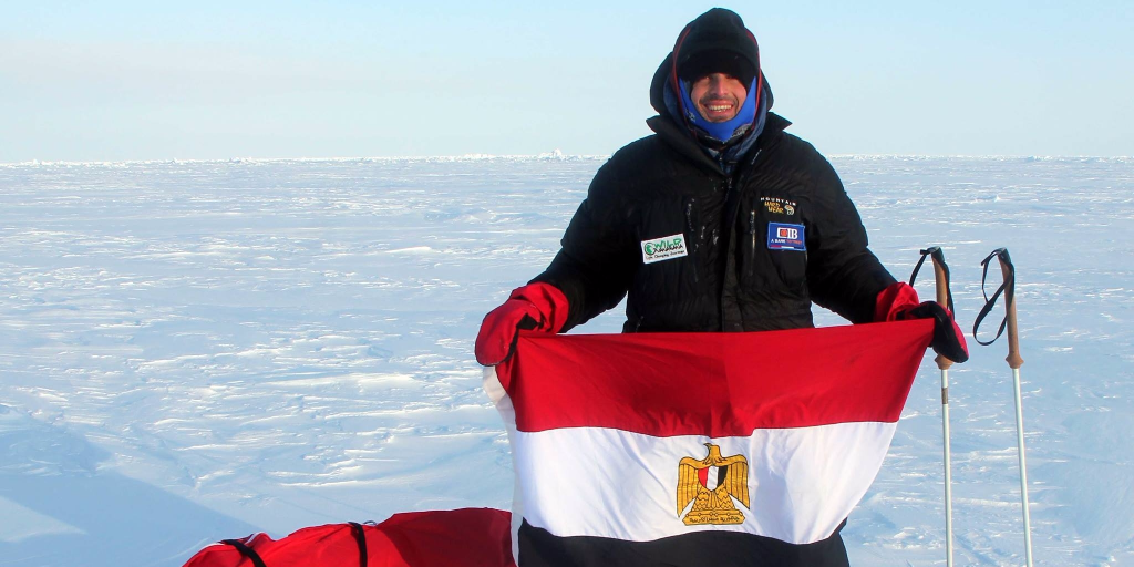 Omar Samra when he became the first Egyptian to ski the south pole.