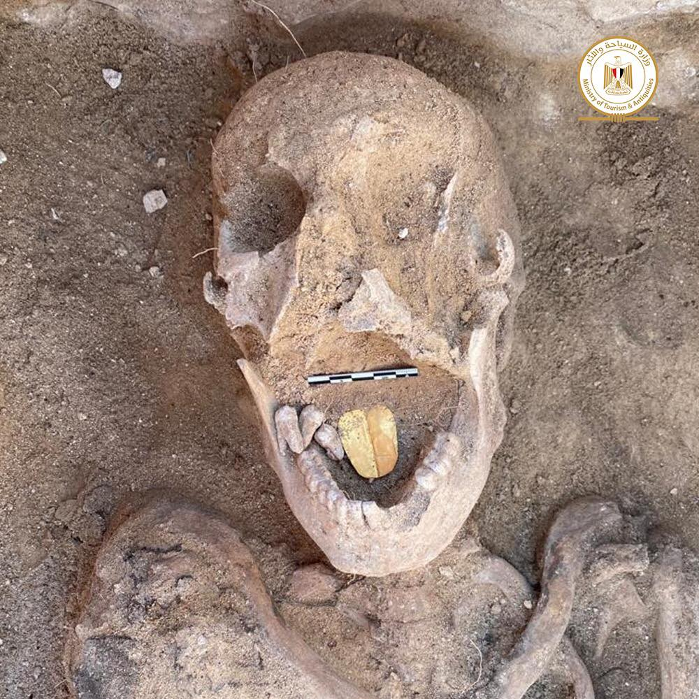 Mummies with golden tongues unearthed at Egyptian temple